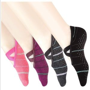 Yoga, barre sticky socks 3 pairs new in bag